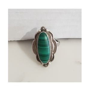 Vintage De Chelly Navajo Malachite Sterling Ring